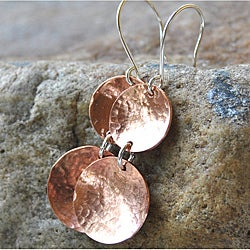 AEB Design Copper and Sterling Silver Double-cup Earrings