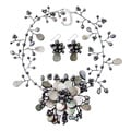 Pearl and Mother of Pearl Grey Floral Jewelry Set (3-5 mm) (Thailand)
