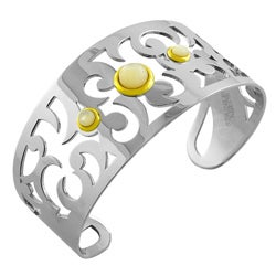 Fremada Stainless Steel Mother of Pearl Cuff Bracelet
