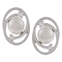 Kabella Sterling Silver White Pearl and Cubic Zirconia Spiral Earrings (5-6 mm)
