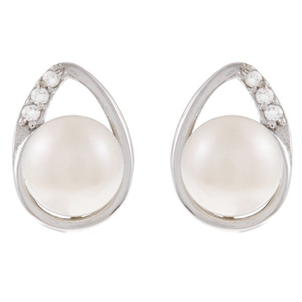 Kabella Sterling Silver White Freshwater Pearl and Cubic Zirconia Earrings (6-7mm)