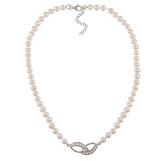 Kabella Sterling Silver Freshwater Pearl and Cubic Zirconia Necklace (6-7mm)