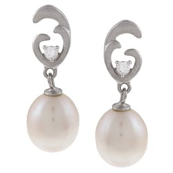 Kabella Sterling Silver White Pearl and Cubic Zirconia Earrings (8-9mm)