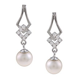 Kabella Sterling-Silver Freshwater Pearl and Cubic Zirconia Dangle Earrings (6-7mm)