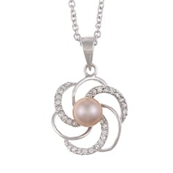Kabella Sterling Silver Purple FW Pearl and Cubic Zirconia Flower Necklace (6-7 mm)