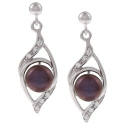 Kabella Silver Black Pearl and Cubic Zirconia Spiral Earrings (6-7 mm)