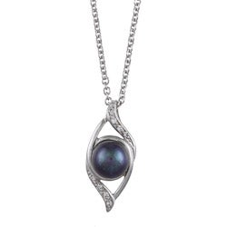 Kabella Sterling Silver Black Pearl and Cubic Zirconia Necklace (7-8mm)