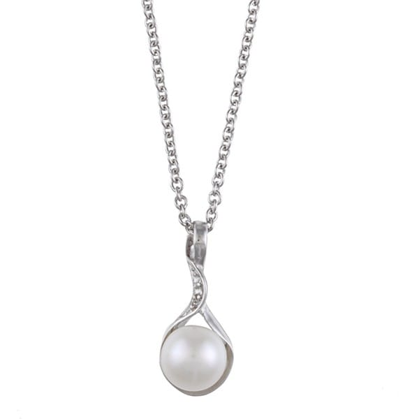 Kabella Sterling Silver White Freshwater Pearl and Cubic Zirconia Necklace (8-9mm)
