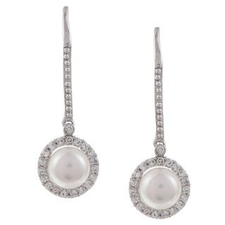 Kabella Sterling Silver White Pearl and Cubic Zirconia Earrings (6-7mm)