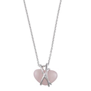 Kabella Sterling Silver Heart-cut Rose Quartz Necklace