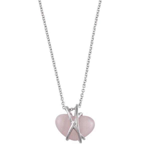 Kabella Sterling Silver Heart-cut Rose Quartz Necklace