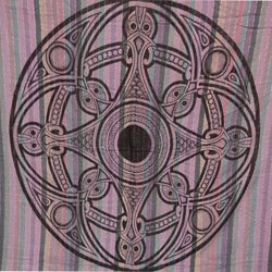 Hand-loomed Cotton Silvertone Celtic Tapestry (India)