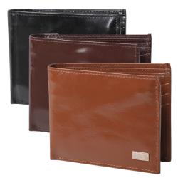 Boston Traveler Men's Solid-Colored Genuine Leather Bifold Wallet