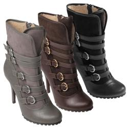 Journee Collection Women's 'Ursula-07' Buckle Heeled Boots