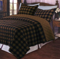 Western Plaid Brown Cotton Oversize 3-Piece Quilt Set