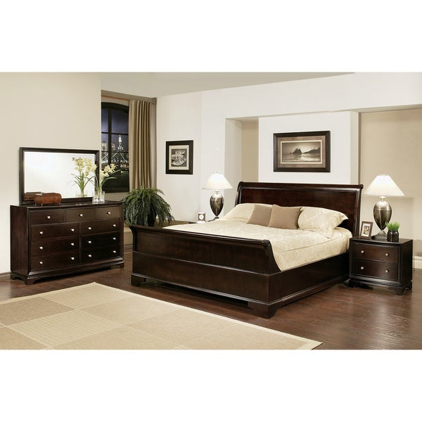 abbyson living kingston 5 piece espresso sleigh king size