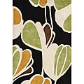 Alliyah Handmade New Zeeland Blend Black Floral Wool Rug (8' x 10')