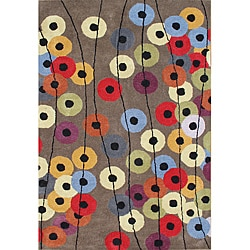 Hand-tufted Metro Circles Grey Rug (5' x 8')