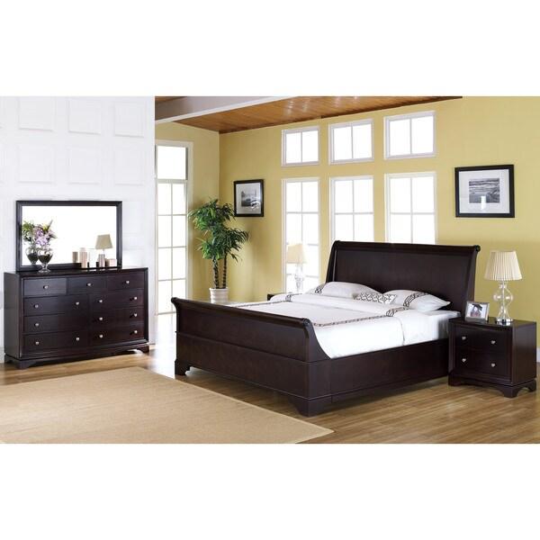 kingston 5 piece espresso sleigh california king size bedroom set
