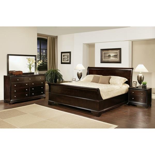 Abbyson living kingston 5 piece espresso sleigh california California king size bedroom furniture sets