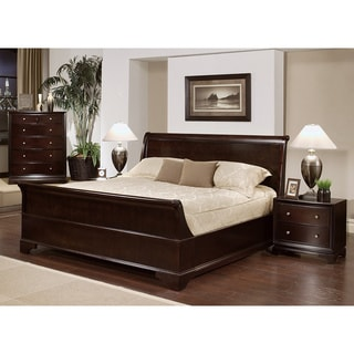 Abbyson Living Kingston 4-piece Espresso Sleigh King-size Bedroom Set