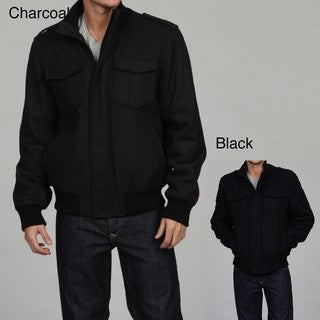 Black Rivet Men's Wool Blend Bomber Jacket
