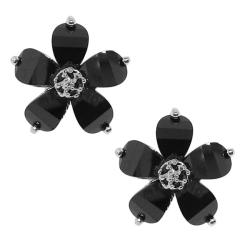 Sterling Silver Black Cubic Zirconia Flower Earrings