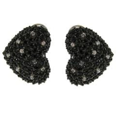Sterling Silver Black and White Cubic Zirconia Heart Earrings