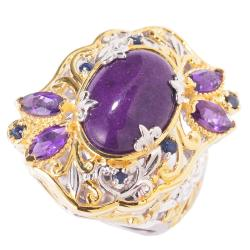 Michael Valitutti Two-tone Purple Jade, Amethyst and Sapphire Ring