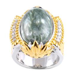 Michael Valitutti Two-tone Seraphinite and White Sapphire Ring (Size 7)