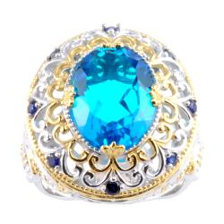 Michael Valitutti Two-tone Paraiba Quartz and Blue Sapphire Ring