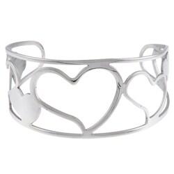 La Preciosa Stainless Steel Swirly Hearts Cuff Bracelet