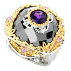 Michael Valitutti Two-tone Hematite, Amethyst and Pink Sapphire Ring