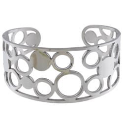 La Preciosa Stainless Steel Wide Circle Cuff Bracelet