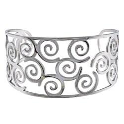 La Preciosa Stainless Steel Wide Swirl Cuff Bracelet