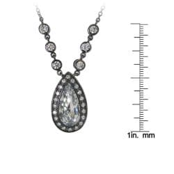 Sterling Silver Clear Cubic Zirconia Teardrop Necklace