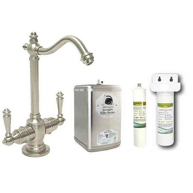 Westbrass Satin Nickel Victorian Hot/Cold Water Dispenser Faucet with Under-Counter Filter Kit