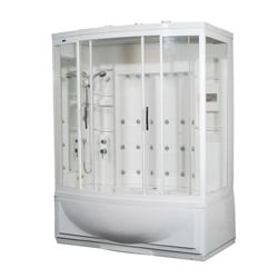 Aston White 87-inch 24-jet Steam Shower with Whirlpool Tub
