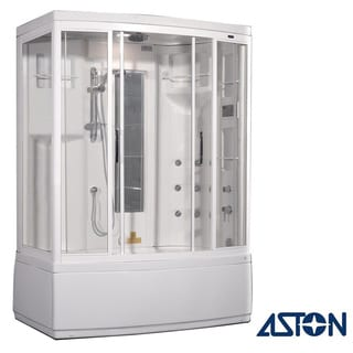Aston White 86-inch 9-jet Steam Shower with Whirlpool Bath
