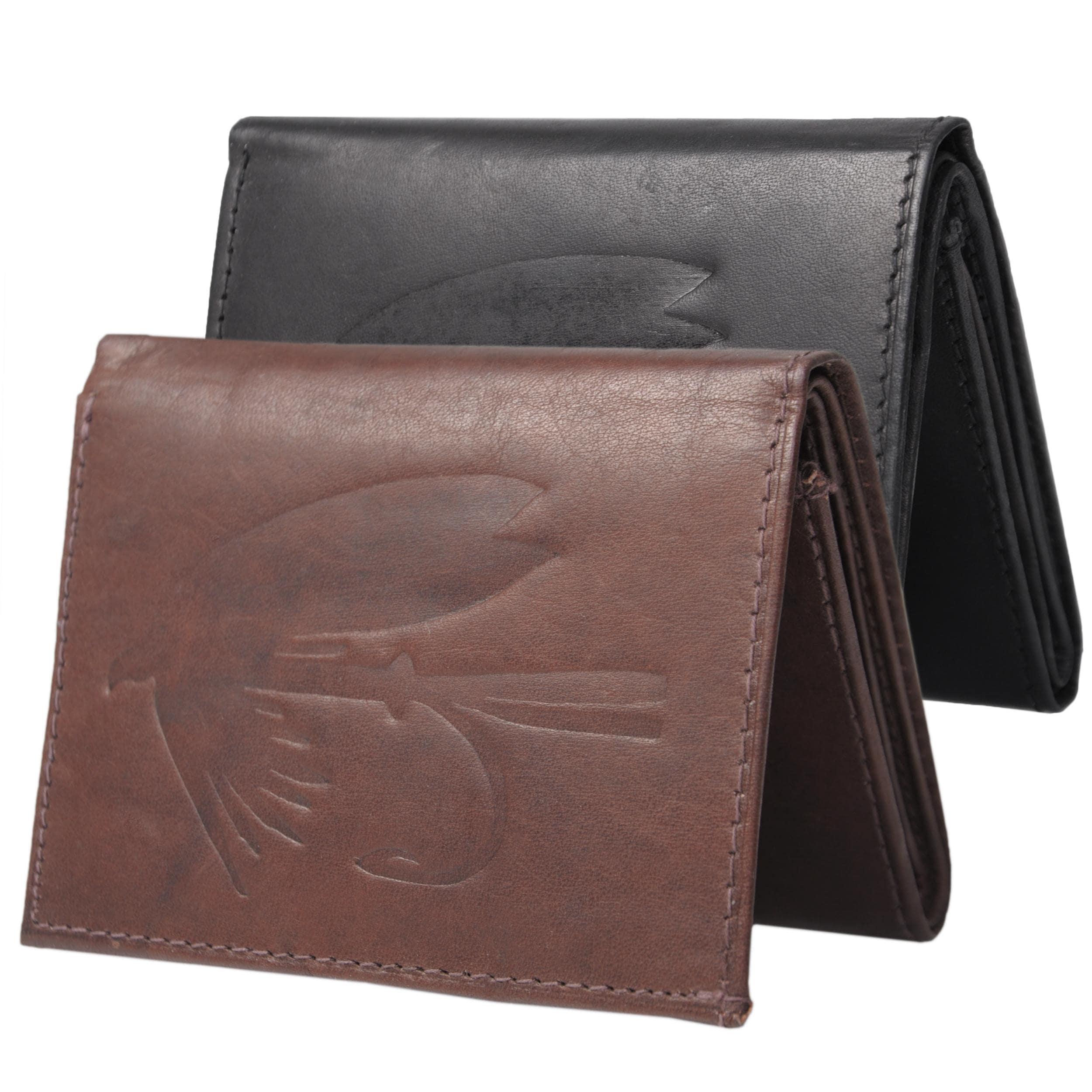 Boston Traveler Men's Genuine Leather Fly Embossed Tri-fold Wallet