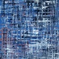 Green Leaf Art Ankan 'Blue Grid' Canvas Art