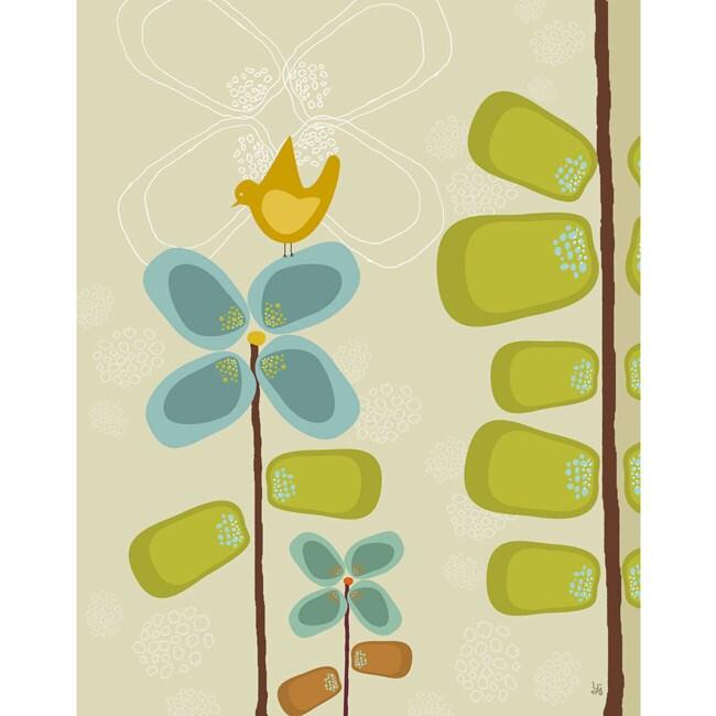 Green Leaf Art Ankan 'Bird on Flower 1' Canvas Art