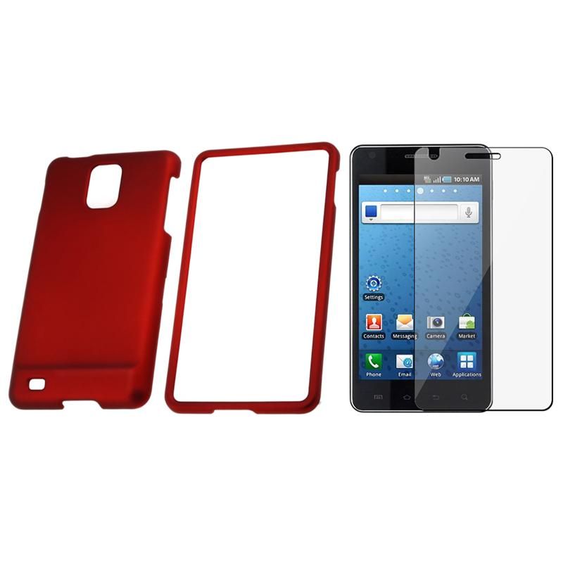 INSTEN Red Phone Case Cover/ Screen Protector for Samsung Infuse i997 4G