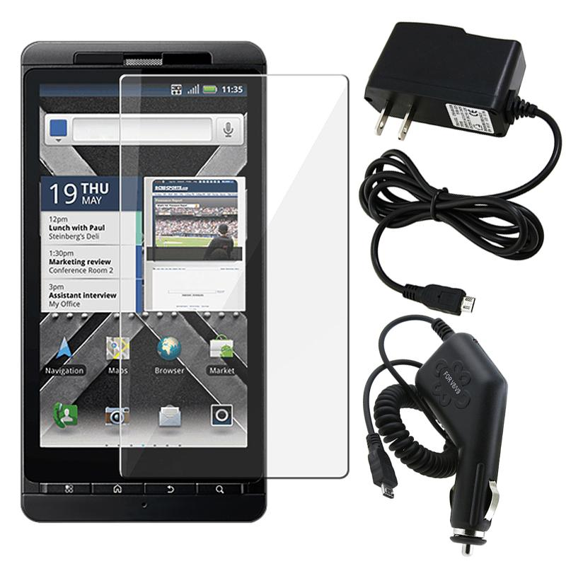 Insten Clear Screen Protector/ BasAcc Travel/ Car Charger for Motorola Droid X2