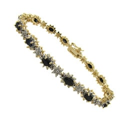 Dolce Giavonna Gold Over Silver Sapphire and Diamond Accent Bracelet
