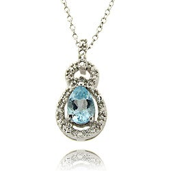 Dolce Giavonna Sterling Silver Topaz and Diamond Accent Necklace