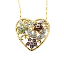 Dolce Giavonna Gold Overlay Gemstone and Diamond Accent Heart Necklace
