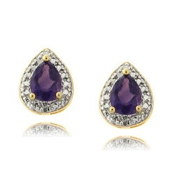 Dolce Giavonna Gold over Silver Amethyst and Diamond Accent Earrings