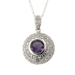 Dolce Giavonna Silver Amethyst and Diamond Accent Necklace