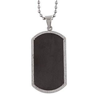 Stainless Steel Men's Diamond-cut Dog Tag Necklace